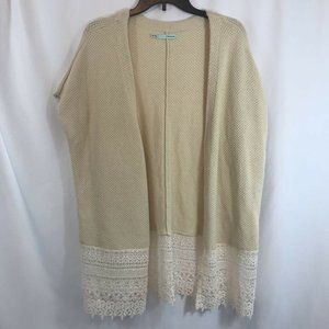 Maurices Womens Cardigan Sweater Ivory Knit Lace